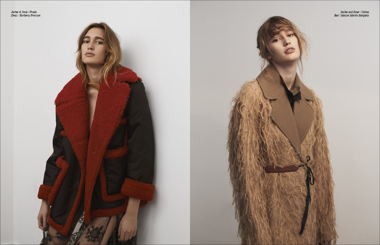 Left to Right/ Jacket & Stole / Prada  Dress / Burberry Prorsum Opposite Jacket and Inner / Céline Belt / Maison Martin Margiela