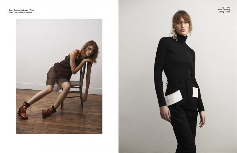 Left to Right/ Dress, Knit and Underwear / Prada  Shoes / Maison Martin Margiela Opposite Top / Kenzo  Pants / Givenchy  Earring / Céline
