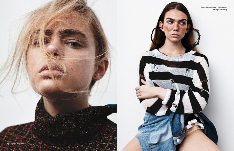 Left Top / Sophie Cull-Candy Right Top, t-shirt and jacket / Vinti Andrews  Earrings / Vivian Ng