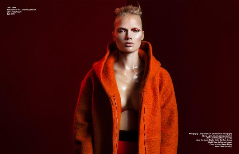 Coat / ZARA Red underwire bra / Madame Supertrash  Skirt / Peet Dullaert Belt / COS