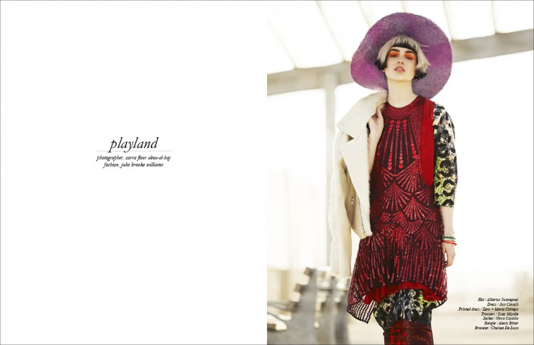 Hat / Albertus Swanepoel  Dress / Just Cavalli  Printed dress / Zero + Maria Cornejo  Trousers / Issey Miyake  Jacket / Nirco Castillo  Bangle / Alexis Bittar  Bracelet / Chelsea De Luca
