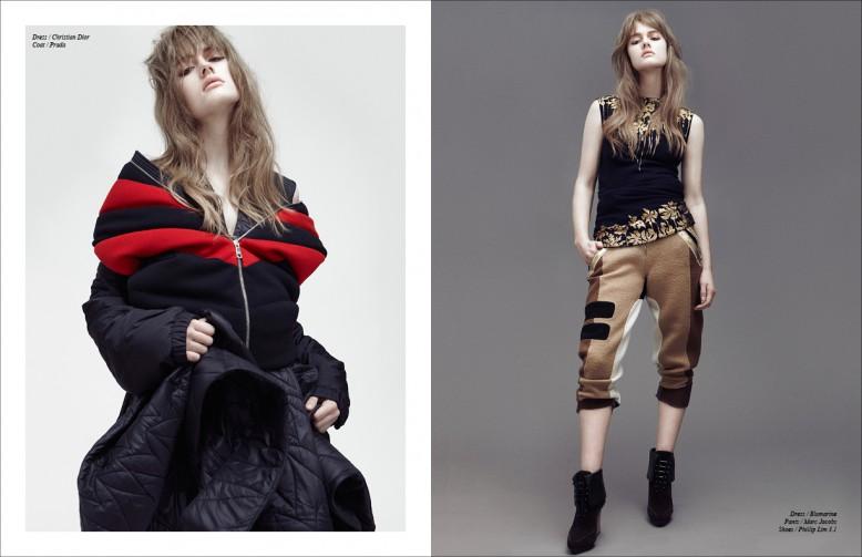 Left Dress / Dior  Coat / Prada Right Dress / Blumarine  Trousers / Marc Jacobs  Shoes / Phillip Lim 3.1