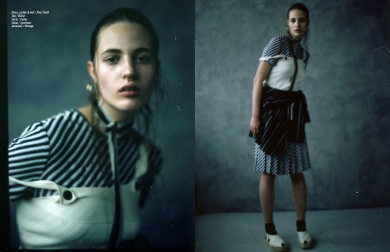 Dress, jacket & belt / Paul Smith Top / H&M Socks / Falke Shoes / Sportmax Jewellery / Vintage