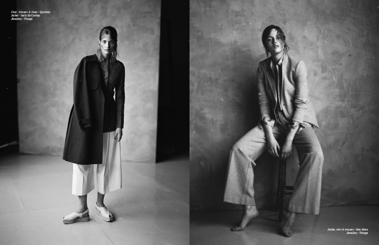 Coat , trousers & shoes / Sportmax Jacket / Stella McCartney Jewellery / Vintage Opposite Jacket, shirt & trousers / Max Mara Jewellery / Vintage