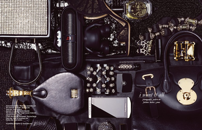 Diamante Lucite bag / Wilardy @ stazialoren.com Pill character & speaker / Beats by Dre Lace shoe / Gianvito Rossi Lipsticks & compact (black) / Chanel The Ultimate Ricky Bag / Ralph Lauren Collection Lipstick (silver) / Anna Sui P'9982 Blackberry® smartphone / Porsche Design Violin bag / Rado @ stazialoren.com Python shoe / Paul Andrew All jewellery throughout @ stazialoren.com