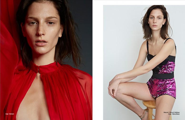Cape / Balmain  Opposite Bodysuit / Dolce & Gabbana Shoes / Pierre Hardy