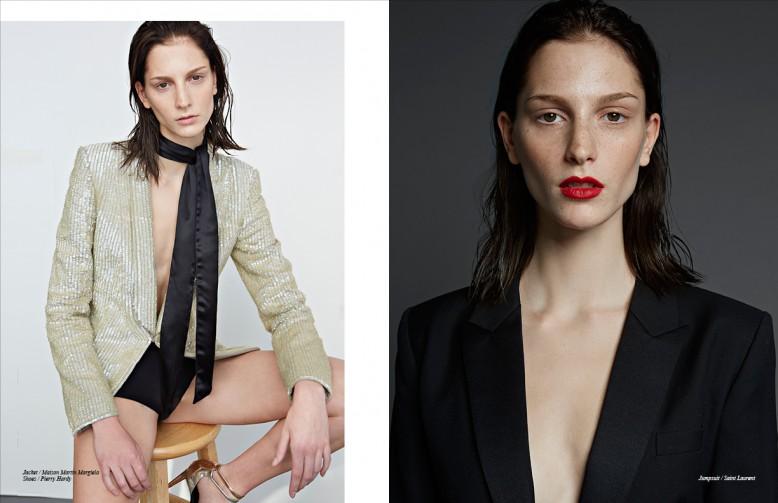Jacket / Maison Martin Margiela Shoes / Pierry Hardy Opposite Jumpsuit / Saint Laurent