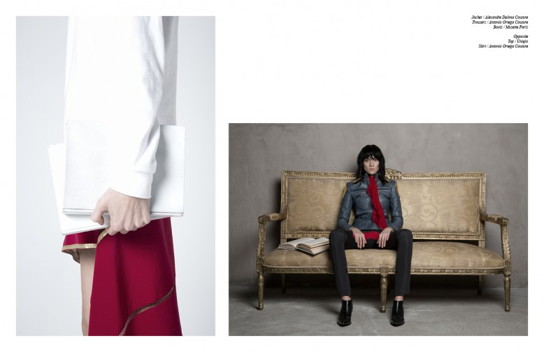 Jacket / Alexandre Delima Couture Trousers / Antonio Ortega Couture Boots / Musette Paris Opposite Top / Uniqlo Skirt / Antonio Ortega Couture