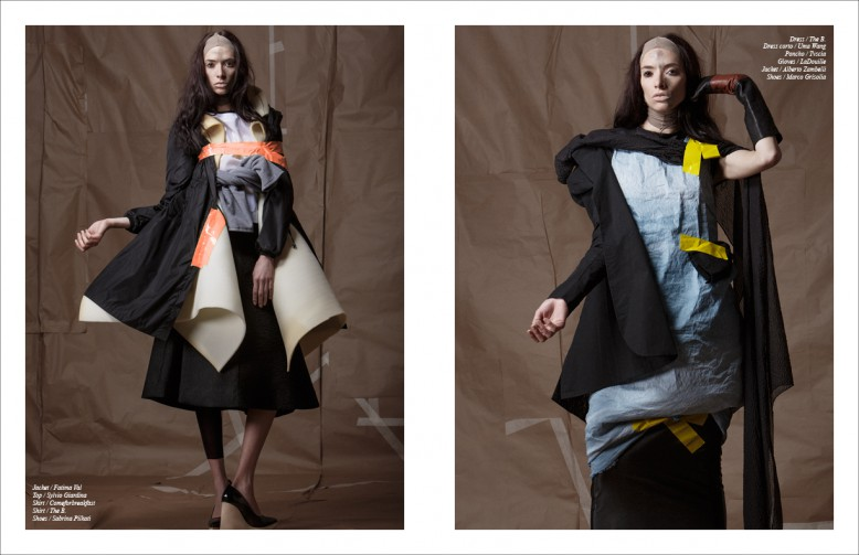 Jacket / Fatima Val Top / Sylvio Giardina Skirt / Comeforbreakfast Shirt / The B. Shoes / Sabrina Pilkati Opposite Dress / The B. Dress corto / Uma Wang Poncho / Tvscia Gloves / LaDouille Jacket / Alberto Zambelli