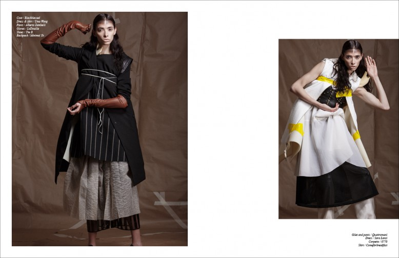Coat / Blackblessed Dress & skirt / Uma Wang Pants / Alberto Zambelli Gloves / LaDouille Shoes / The B. Backpack / Minimal To Opposite Gilet and pants / Quattromani Dress / Sara Lanzi Corpetto / 0770 Skirt / Comeforbreakfast