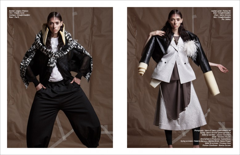 Bomber / Angelos Frentzos Shirt / Claudia Susini Cardigan / Comeforbreakfast Pants / The B. Opposite Leather jacket / Fatima Val Gilet / Comeforbreakfast Dress / Marco Grisolia Skirt / Comeforbreakfast Pin / Indress