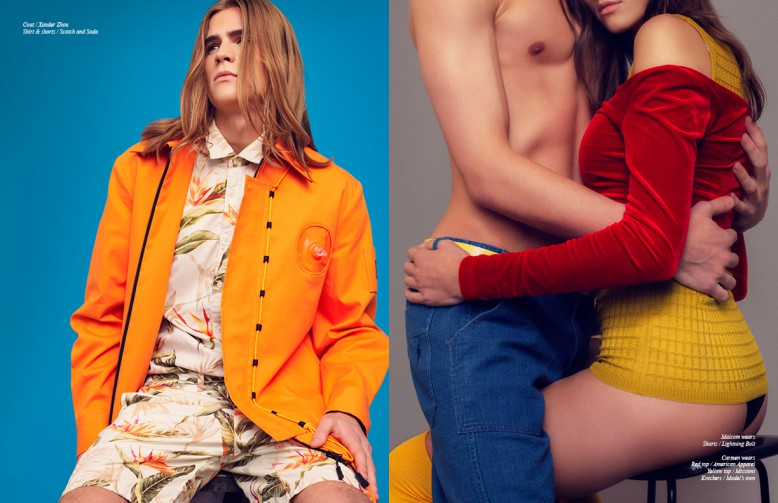 Coat / Xander Zhou Shirt & shorts / Scotch and Soda Opposite Malcom wears Shorts / Lightning Bolt Carmen wears Red top / American Apparel Yellow top / Missioni Knickers / Model's own