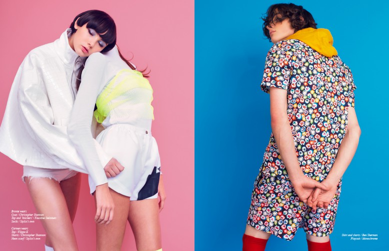 Bronte wears Coat / Christopher Shannon Top and 'knickers' / Faustine Steinmetz Socks / Stylist's own Carmen wears Top / Flippa K Shorts / Christopher Shannon Neon scarf / Stylist's own Opposite Shirt and shorts / Ben Sherman Playsuit / Monochrome
