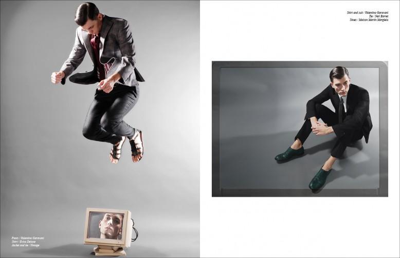 Shirt / Evisu Deluxe Jacket and tie / Vintage Trousers / Valentino Garavani Opposite Shirt and suit / Valentino Garavani Tie / Neil Barret Shoes / Maison Martin Margiela