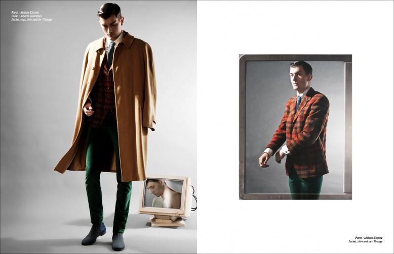 Jacket, coat, shirt and tie / Vintage Trousers / Maison Kitsunè Shoes / Alberto Guardiani Opposite Jacket, shirt and tie / Vintage Trousers / Maison Kitsunè