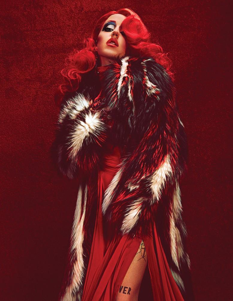 Fur coat / Roberto Cavalli Dress / Prabal Gurung Jewellery / Marianna Harutunian