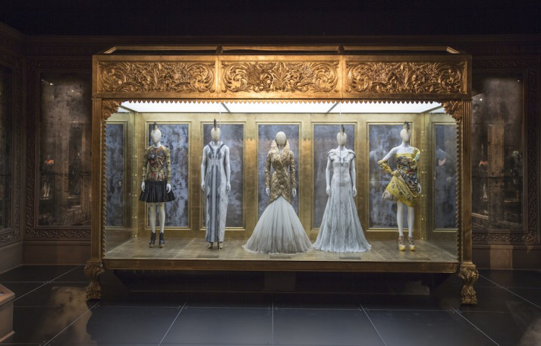 Installation view of 'Romantic Gothic' gallery  Artist: Alexander McQueen Savage Beauty at the V&A 2015 Victoria and Albert Museum, London