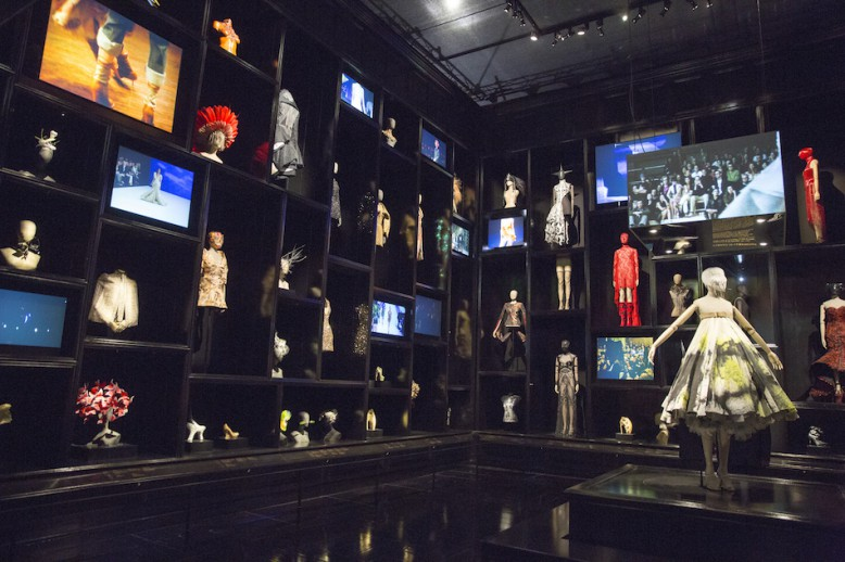 Installation view of  'Cabinet of Curiosities' gallery  Artist: Alexander McQueen Savage Beauty at the V&A 2015 Victoria and Albert Museum, London