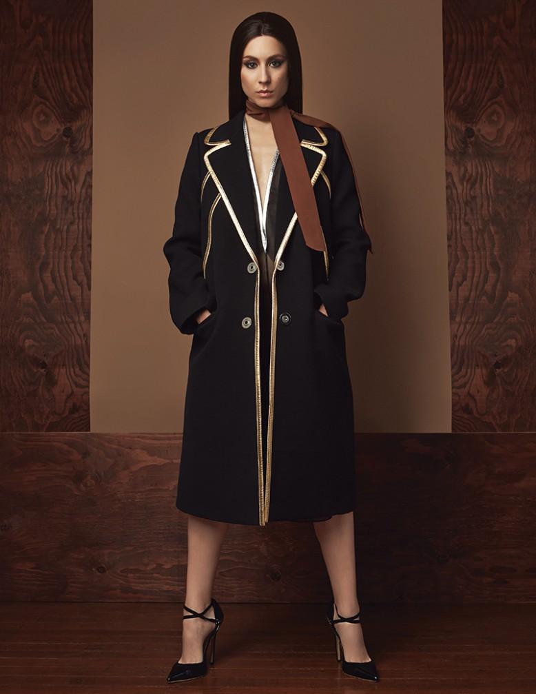 Coat, dress & scarf / Prada Shoes / CelebBoutique