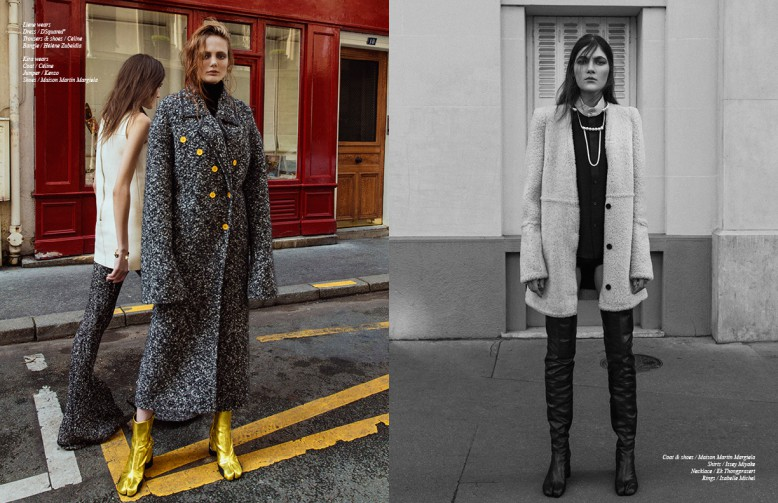 Liene wears Dress / DSquared² Trousers & shoes / Céline Bangle / Hélène Zubeldia Kira wears Coat / Céline Jumper / Kenzo Shoes / Maison Martin Margiela Opposite Coat & shoes / Maison Martin Margiela Shirts / Issey Miyake Necklace / Ek Thongprasert Rings / Isabelle Michel