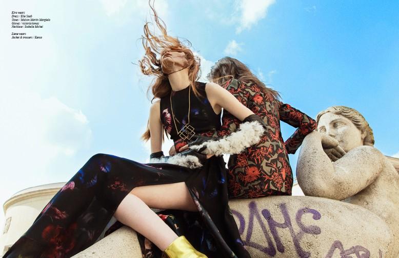 Kira wears Dress / Elie Saab Shoes / Maison Martin Margiela Gloves / victoria/tomas Necklace / Isabelle Michel Liene wears Jacket & trousers / Kenzo