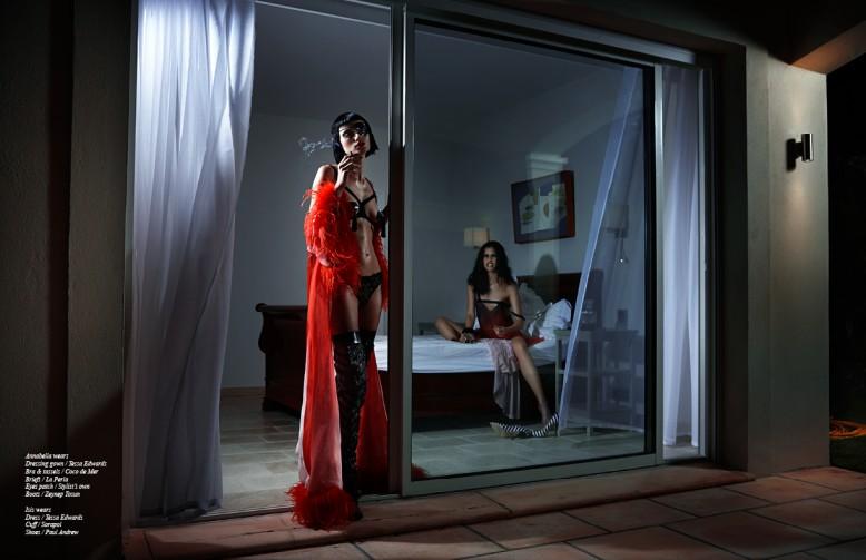 Annabella wears Dressing gown / Tessa Edwards Bra & tassels / Coco de Mer Briefs / La Perla Eyes patch / Stylist's own Boots / Zeynep Tosun Isis wears Dress / Tessa Edwards Cuff / Sorapol Shoes / Paul Andrew