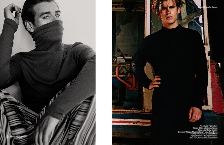 Top / Maison Martin Margiela Trousers / Issey Miyake Opposite Dress / Christopher Shannon