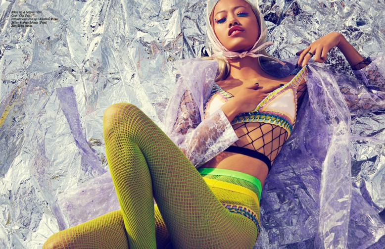 Bikini top & bottoms / Kini, Coat / Chic Feast, Fishnets worn as a top / Jonathan Anston Yellow & green fishnets / Fogal Hat / Tokyo hands.