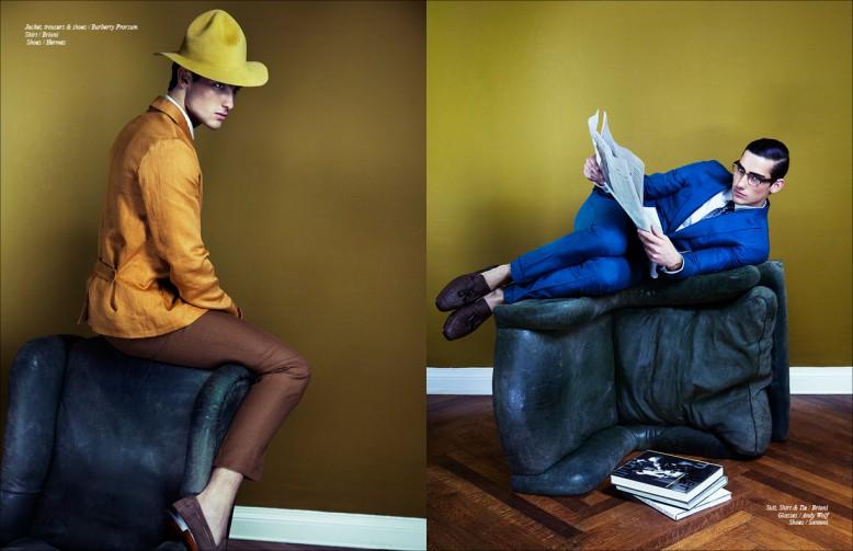 Jacket, trousers & shoes / Burberry Prorsum Shirt / Brioni Shoes / Hermés Opposite Suit, Shirt & Tie / Brioni Glasses / Andy Wolf Shoes / Santoni