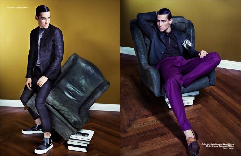 Total look / Emporio Armani Opposite Jacket, shirt, belt & trousers / Zegna Couture Hanky / Vivienne Westwood @Tkmaxx Shoes / Santoni