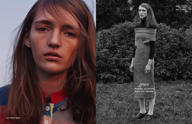 Left T-shirt / Martina Spetlova Right Jumper / UNIQLO Dress / BACK Shoes / Dr. Marten