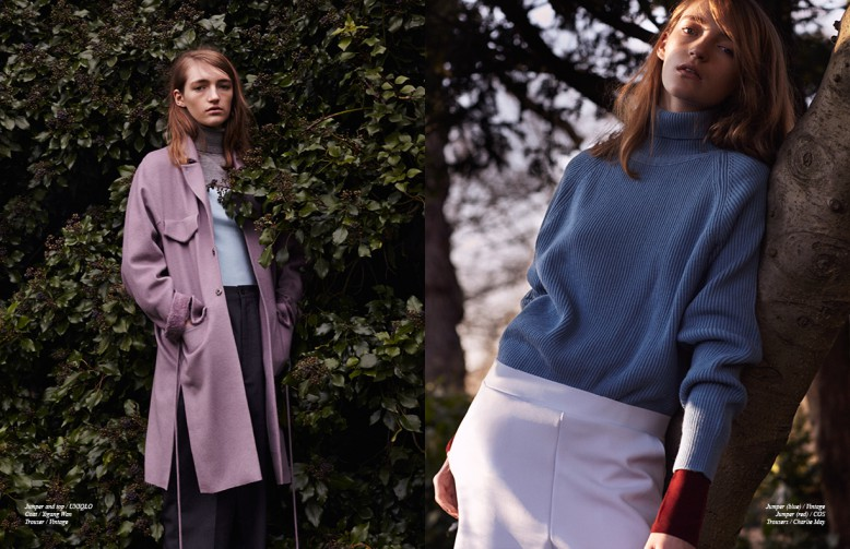 Left Jumper and top / UNIQLO Coat / Yigang Wan Trouser / Vintage Right Jumper (blue) / Vintage Jumper (red) / COS Trousers / Charlie May