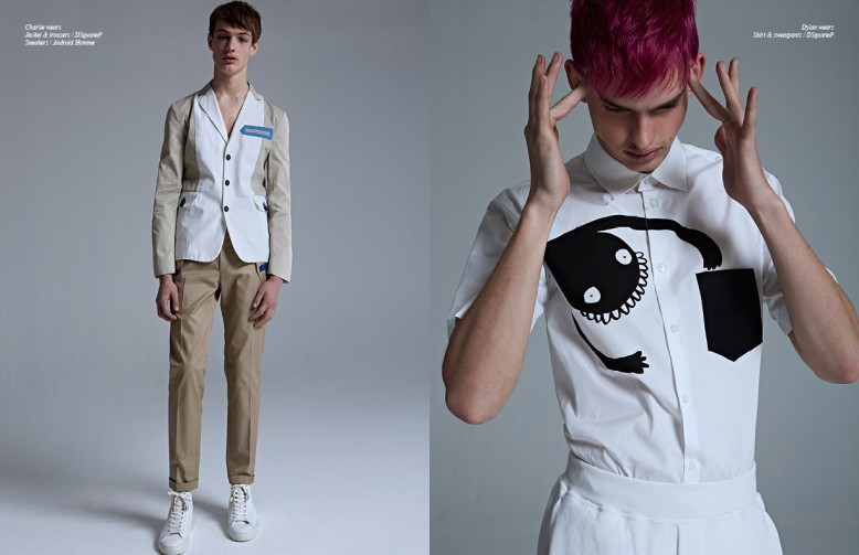 Left Charlie wears Jacket & trousers / DSquared2 Sneakers / Android Homme Right Dylan wears Shirt & sweatpants / DSquared2