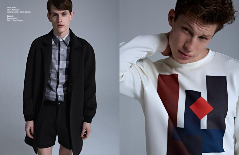 Left Jacob wears Shirt / Perry Ellis Jacket & Shorts / Carlos Campos Right  Jordan wears Shirt / Carlos Campos