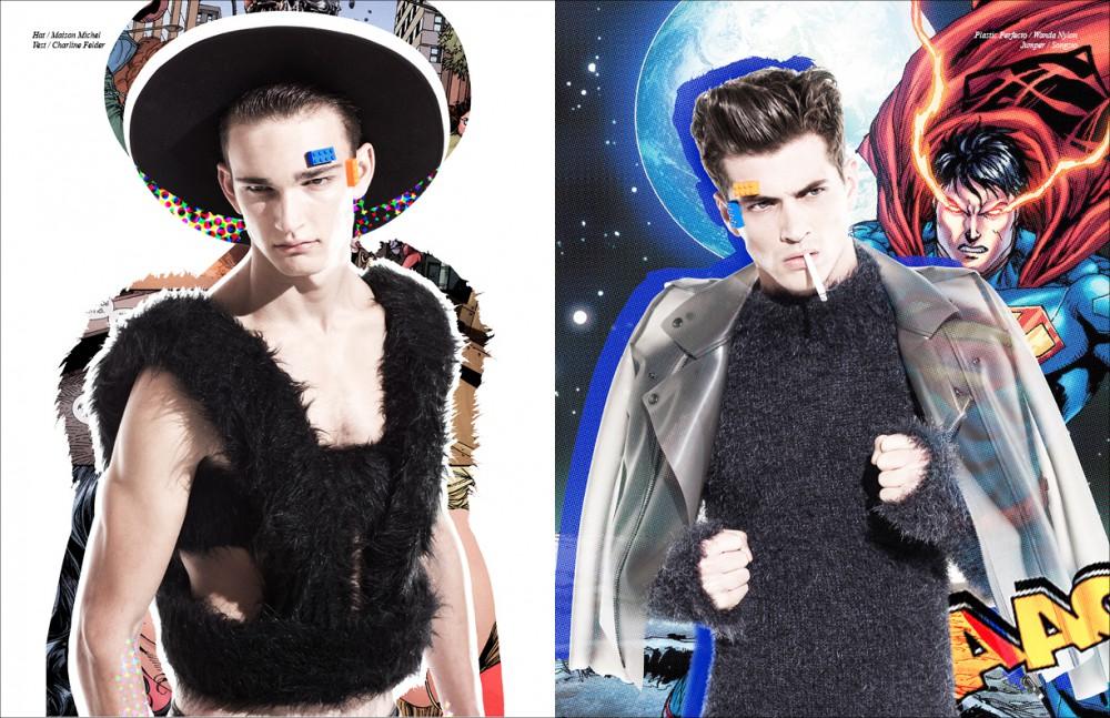 Hat / Maison Michel Vest / Charline Felder Opposite Plastic Perfecto / Wanda Nylon Jumper / Songzio