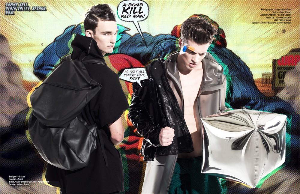 Backpack / Icosae Sweater / Julius Black Plastic Perfecto & Coat / Wanda Nylon Leather Jacket / Julius