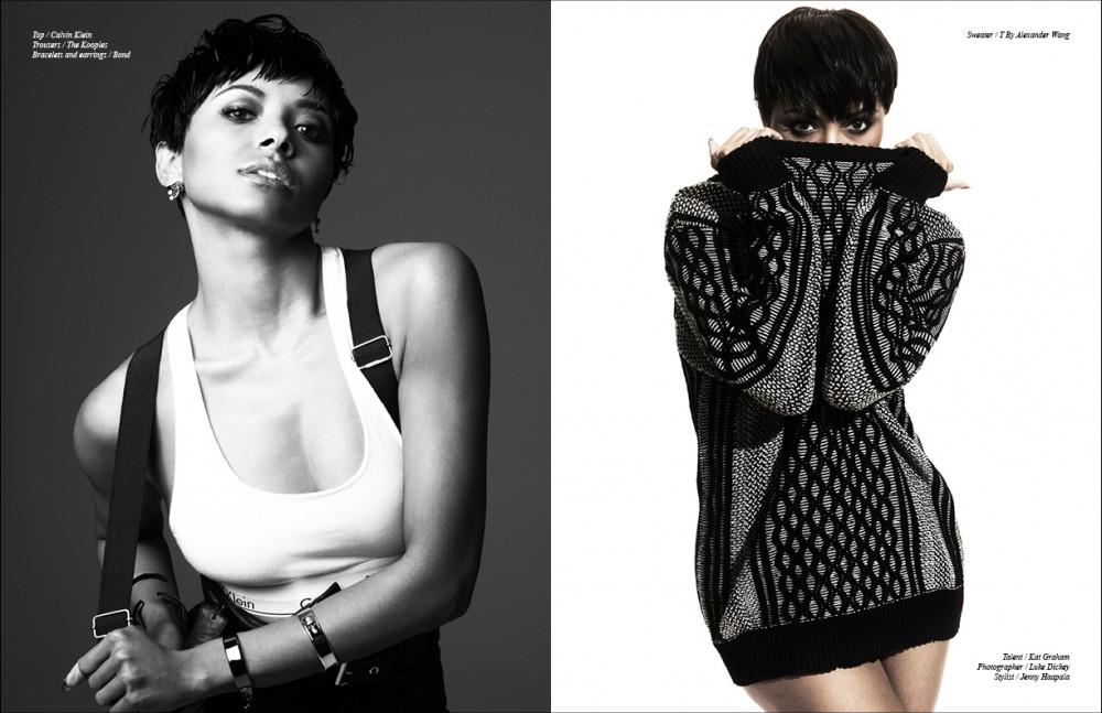 Top / Calvin Klein Trousers / The Kooples Bracelets and earrings / Bond Opposite Sweater / T By Alexander Wang