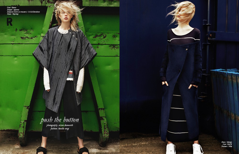 Coat / Kenzo Jumper / Agnona Jumpsuit (worn as trousers) / J & M Davidson Shoes / Topshop Opposite Dress / Mango Coat / BACK Trainers / Nike