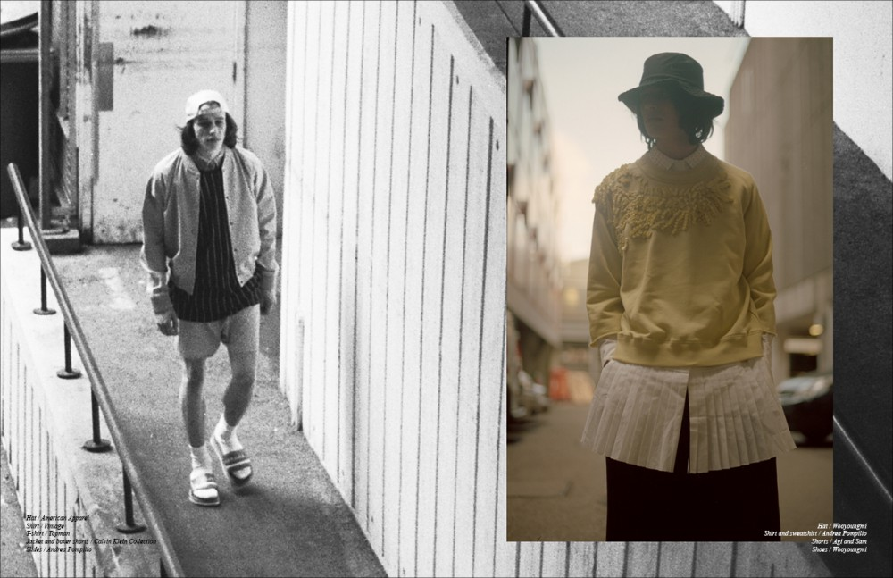 Hat / American Apparel Shirt / Vintage T-shirt / Topman Jacket and boxer shorts / Calvin Klein Collection Slides / Andrea Pompilio Opposite Hat / Wooyoungmi Shirt and sweatshirt / Andrea Pompilio Shorts / Agi and Sam Shoes / Wooyoungmi