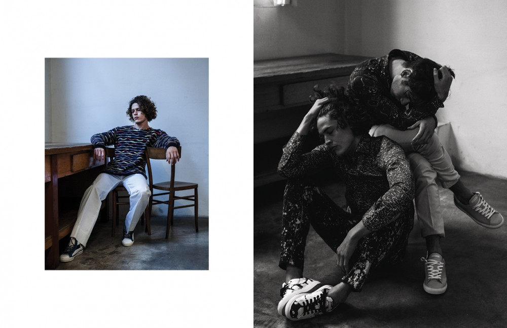 Sidney wears Knitwear / Ermanno Scervino Trousers / Frankie Morello Sneakers / D.a.t.e. Opposite Sidney wears Shirt / Massimo Rebecchi Trousers / Frankie Morello Sneakers / D.a.t.e. Andrei wears Shirt / Massimo Rebecchi Trousers / American Vintage Sneakers / D.a.t.e.