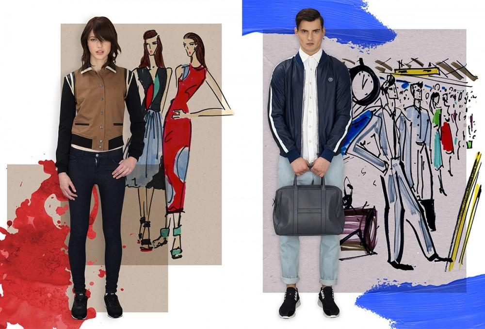 Daisy Wears Jacket / Diesel Jeans / Edwin Shoes / United Nude Jack wears Bomber / Replay Shirt / Denim & Supply Ralph Lauren Jeans / Lacoste Shoes /  Y-3 Bag / HOGAN