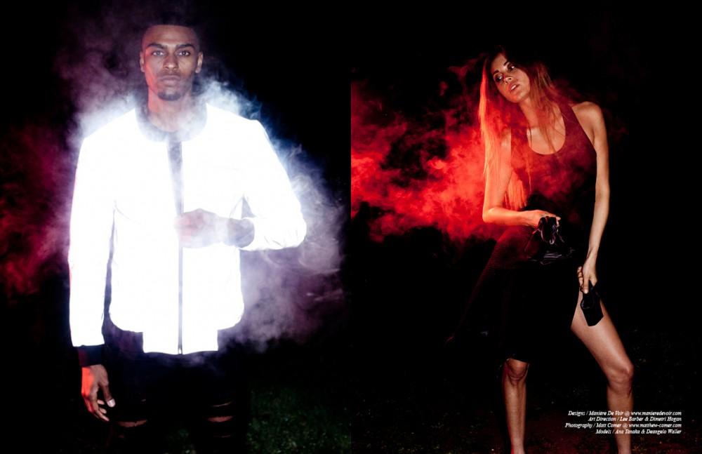 Deangelo wears Manière De Voir Reflective Jacket Distressed Ripped Jean Opposite Ana wears Manière De Voir Lightweight Mesh Jacket Racer Back Dress (coming soon)