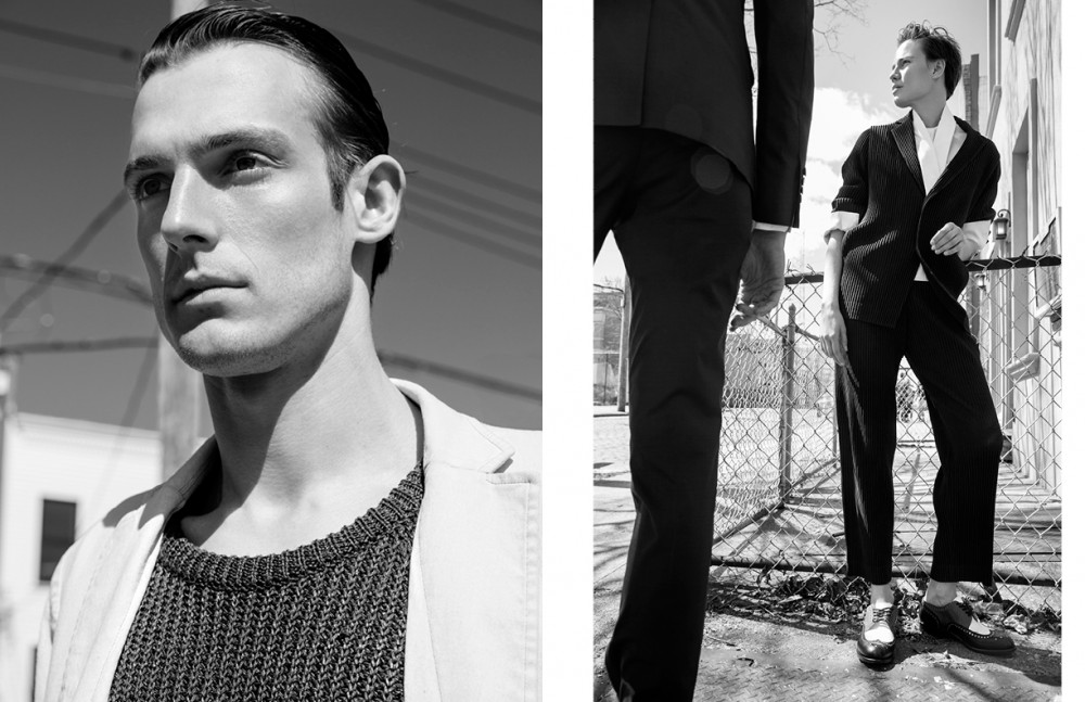 Jacket & knit/ N.Hoolywood Opposite Elliot wears Suit / Homme Plissé by Issey Miyake Shirt / Rosario Shoes / Robert Clergerie Aiden wears Suit / Brioni