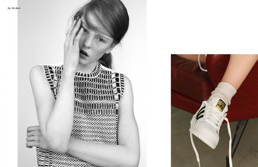 Top / Tory Burch  Opposite Shoes / Adidas Originals