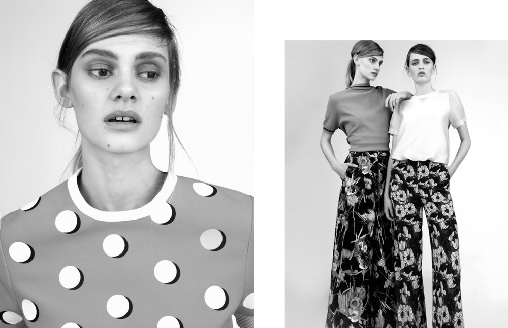Top / Marni Opposite Saadi wears Top / Isola Marras Trousers / H&M Benedetta wears Top / Mauro Grifoni Trousers / H&M