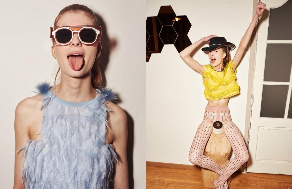 Dress / Fendi Glasses / Wanda Nylon Opposite Top / Paule Ka Stocking / Falke
