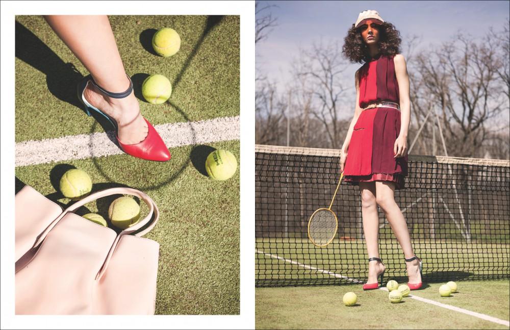 Vest / Aquilano.Rimondi Visor / Lika Hat Opposite Vest, skirt & belt / Aquilano Rimondi Shoes / Mauro Grifoni Visor / Lika Hat