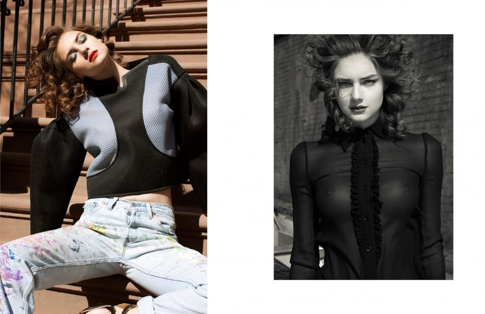 Top / Kenzo Jeans / Calvin Klein for Rialto Jean Project Earrings / Cornelia Web Opposite Blouse / Saint Laurent Paris