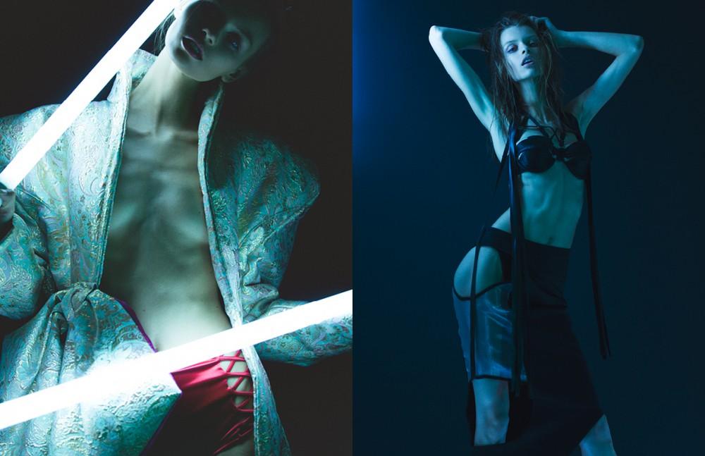 Coat / Merlin Castell Opposite Bra / Nichole De Carle Skirt / MDF Ribbon Glove / Maggie Barry