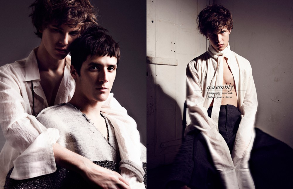 Shirt & coat / Dan Natale Opposite Shirt / Dan Natale Trousers / Michael Yip